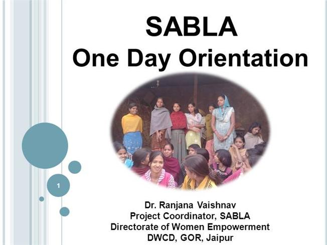 Rajiv Gandhi Scheme for Empowerment of Adolescent Girls – SABLA